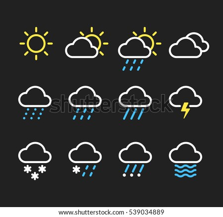 Weather line icons set. Sunny, clouds, different types of precipitation, rain and snow. Vector pictograms on dark background.
