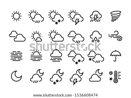 weather line icons sun clouds