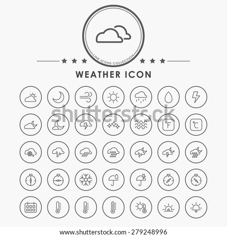 weather line icons with circle