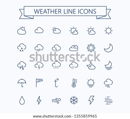 Weather line mini icons.Editable stroke. 24x24 grid. Pixel Perfect.