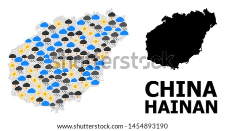 Weather mosaic vector map of Hainan Island. Geographic mosaic map of Hainan Island is organized from scattered rain, cloud, sun, thunderstorm icons. Vector flat illustration for weather forecst.