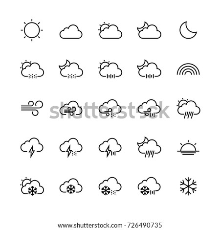 Weather outline icon set isolated on white background, vector illustration