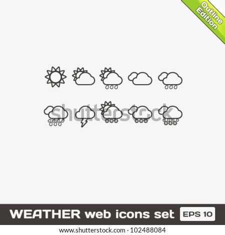 Weather Outline Web Icons Set