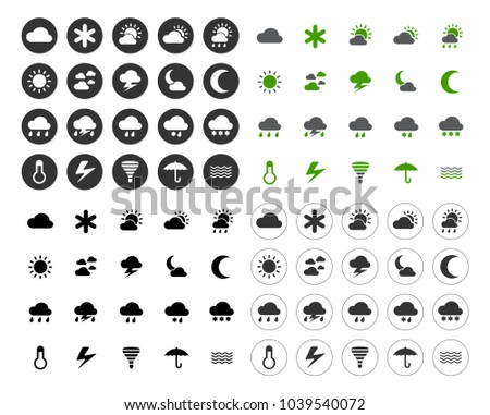 Weather overcast icons set - forecast sign and symbols