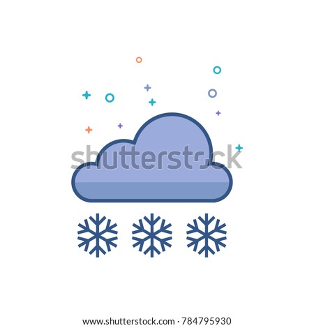 Weather overcast snowing icon in outlined flat color style. Vector illustration.