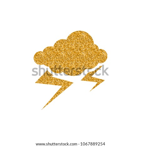 Weather overcast storm icon in gold glitter texture. Sparkle luxury style vector illustration.
