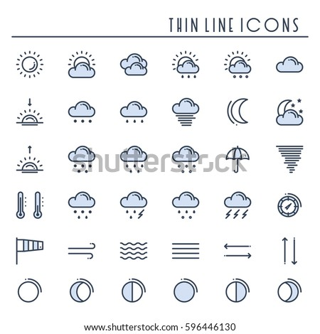 Weather pack line icons set. Meteorology. Weather forecast design elements. Template for mobile app, web and widgets.Vector style linear icons. Isolated illustration. Symbols. Blue