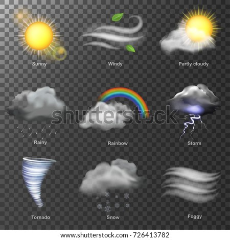 Weather realistic 3d icons vector. set Sun, cloud, rainbow, storm wind
