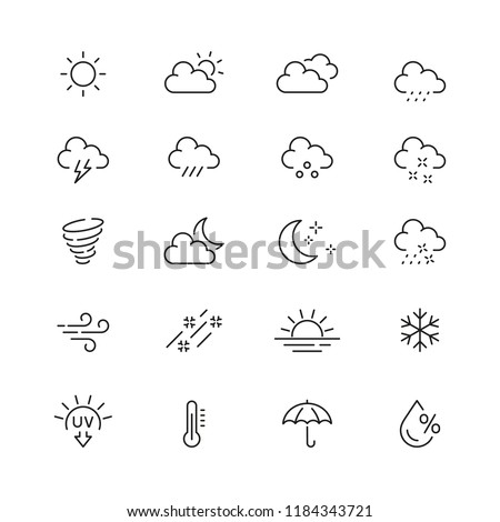 Weather related icons: thin vector icon set, black and white kit