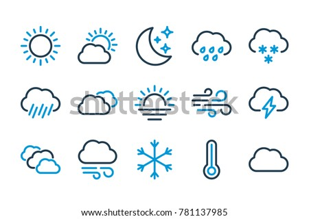 Weather related line icons. Vector icon set.