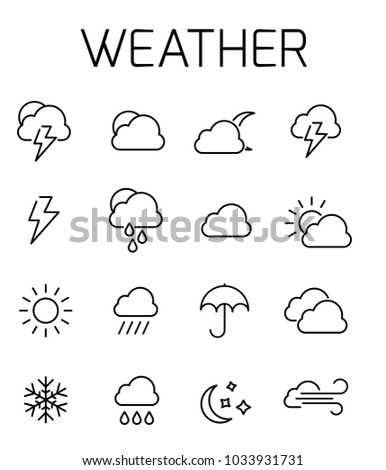 Weather related vector icon set. Well-crafted sign in thin line style with editable stroke. Vector symbols isolated on a white background. Simple pictograms.