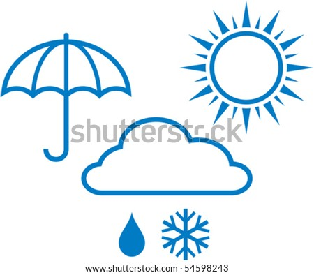 Weather report icons - sunny, cloudy, rainy weather. Vector illustration