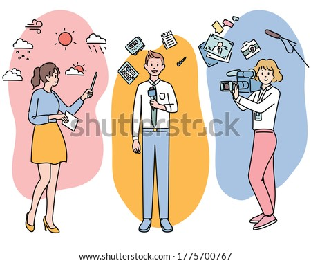 Weather reports, field reporters and cameraman for news characters and icons. hand drawn style vector design illustrations.