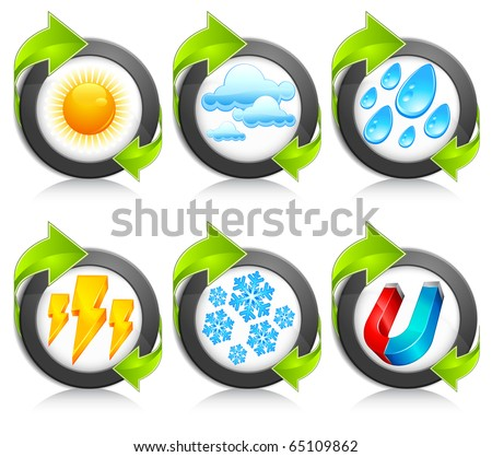 Weather round icons with green arrow, forecast emblems on white, vector illustration