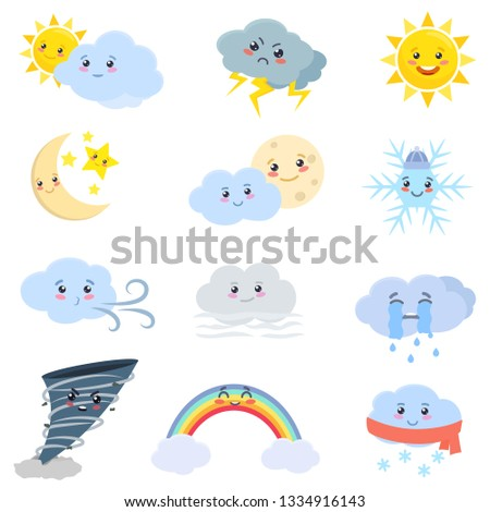 Weather set. Cloud, sun, rain, wind, fog, snow, tornado, moon, etc. Cartoon drawing. Weathering events characters collection. Isolated vector illustration