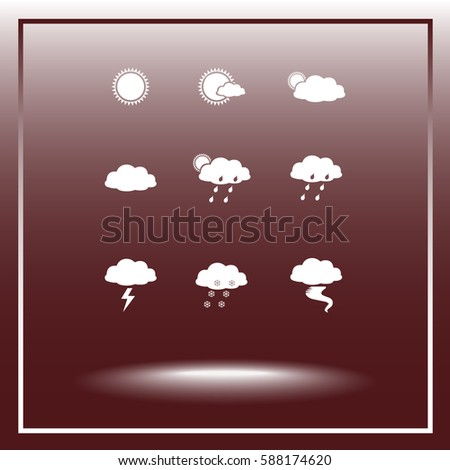 Weather sign icons, vector illustration. Flat design style