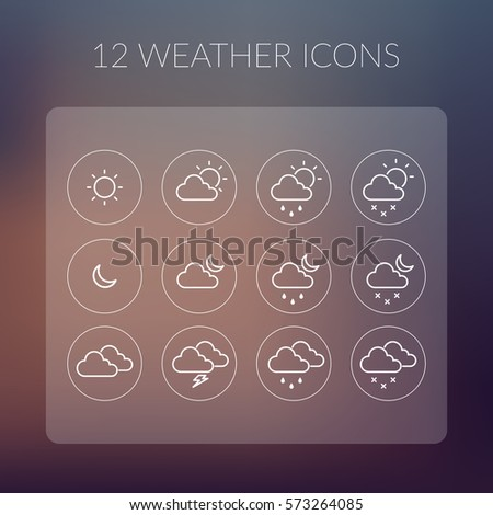 Weather simple icons set on transparent rectangle for mobile design on blurred background isolated vector illustration