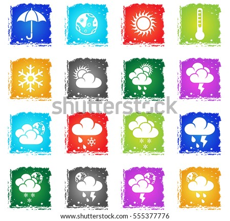 Weather simply icons in grunge style for your design