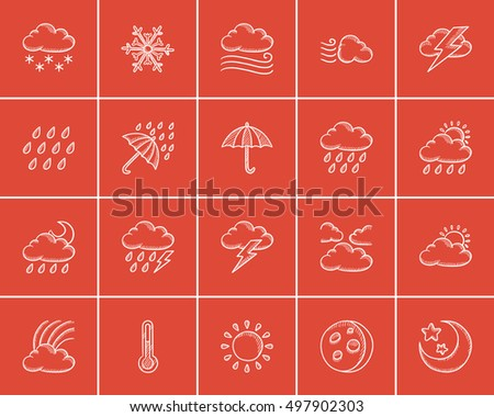 Weather sketch icon set for web, mobile and infographics. Hand drawn weather icon set. Weather vector icon set. Weather icon set isolated on red background.