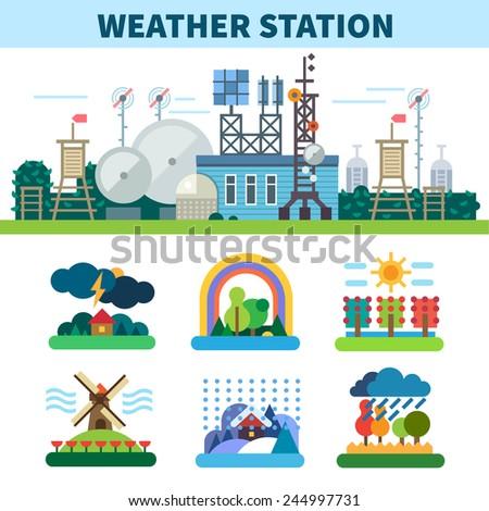 Weather station. Seasons. Rain, wind, storm, sun, clouds, snow, fog. Vector flat illustrations
