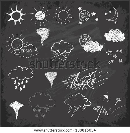 Weather symbols set on on chalkboard blackboard . Hand drawn sketch illustration