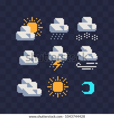 Weather symbols web icons pixel art set. Contains such icon as rain, clouds, drizzle, wind, snow, night, thunderstorm and sun. Design for mobile app, sticker, logo. Isolated vector illustration.