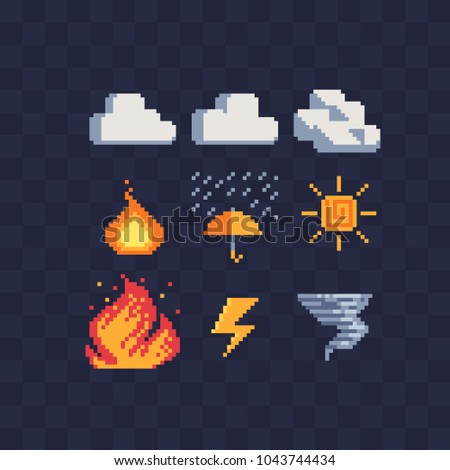 Weather symbols web icons pixel art set, fire, rain, thunderstorm, tornado, clouds and sun. Element design for mobile app, sticker, logo. Game assets. Isolated vector illustration.