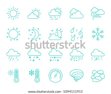 Weather thin line icons set. Outline monochrome web sign kit of meteorology. Climate linear icon collection includes sun, cloudy, thunderstorm. Isolated simple weather symbol. Vector Illustration