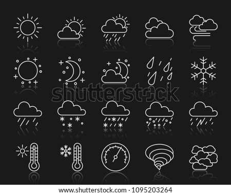Weather thin line icons set. Outline web sign kit of meteorology. Climate linear icon collection includes barometer, cloud, drizzle. Simple weather symbol with reflection. Vector Illustration