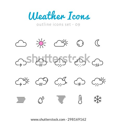 Weather thin linear icons set  for web and mobile application. Nature phenomenon pictograms