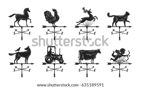 Weather vane silhouette, set icons. Windvane, weathervane symbol or logo. Vintage vector illustration