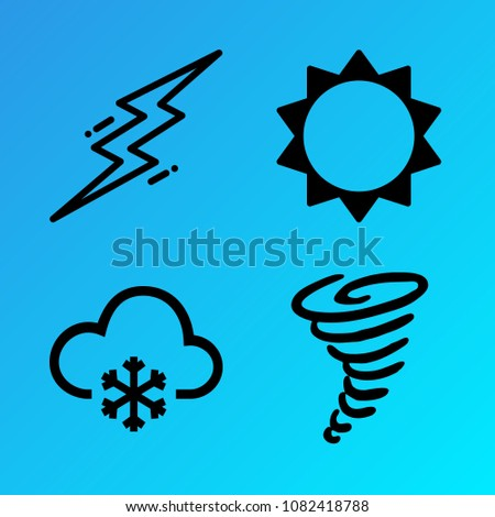 Weather vector icon set consisting of 4 icons about flash, sun, snow, cloudy, lightning, cloud, hurricane, snowy, tornado and sunny