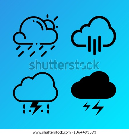 Weather vector icon set consisting of 4 icons about pour, storm, lightning, rainy, cloud, cloudy, flash, rain and sun