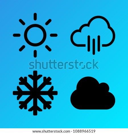 Weather vector icon set consisting of 4 icons about sun, pour, snow, rainy, snowflake, cloud, cloudy, sunny and rain
