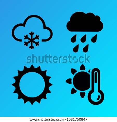 Weather vector icon set consisting of 4 icons about sunny, heat, summer, pour, rainy, cloudy, sun, snowy, cloud and snow