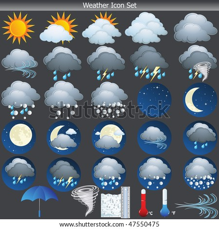 Weather vector Icon set on grey background