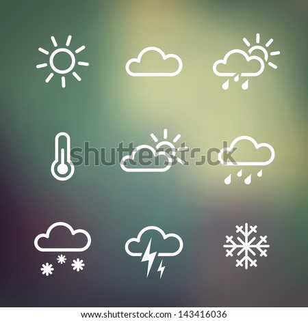 Weather Vector Icons on blurred background. Isolated from background. Each icon in separately folder.