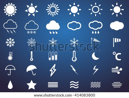 weather vector line icon set
