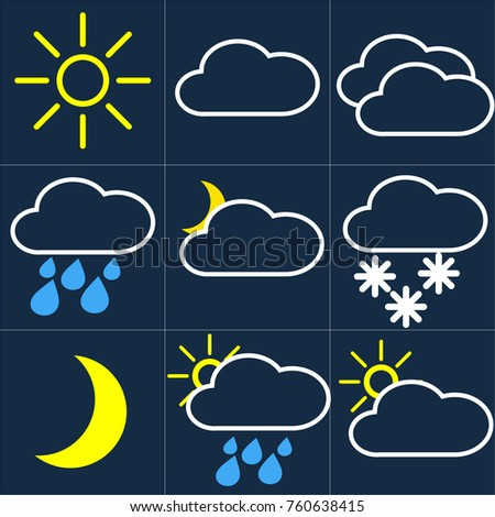 weather, weather icons, cloud, sun, rain, snow, cloudiness