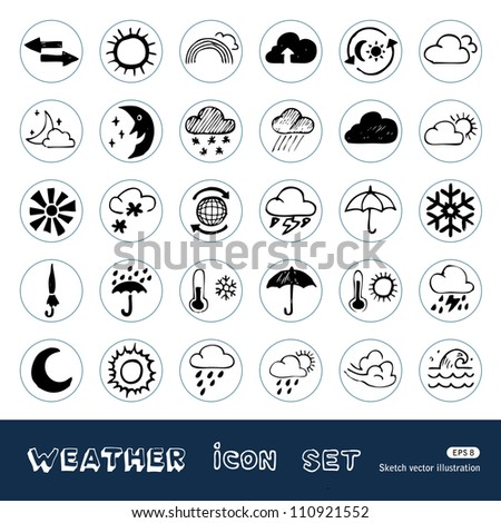 Weather web icons set. Hand drawn sketch illustration isolated on white background
