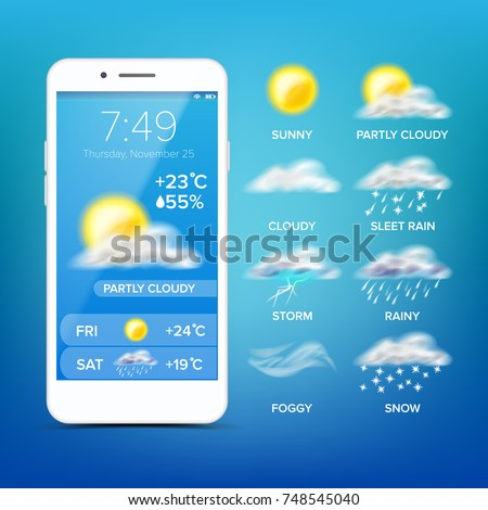 Weather Widget Forecast App Vector. Realistic Smartphone.  App With Rain, Sun Icons. Blue Screen Background. Mobile Application Screen. Design Element Illustration