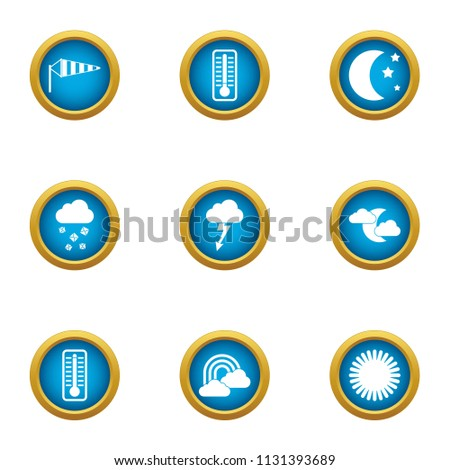 Weather widget icons set. Flat set of 9 weather widget vector icons for web isolated on white background