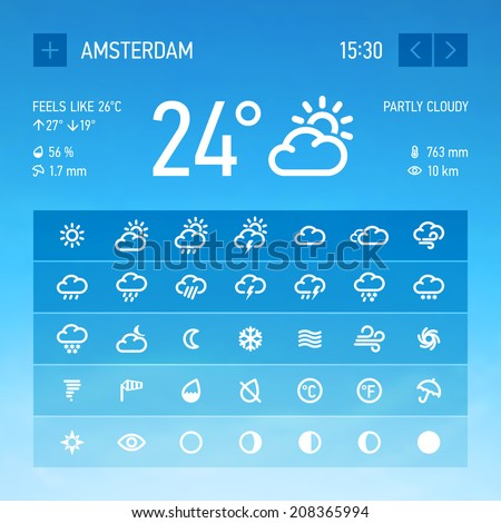 Weather widget icons set. Vector.