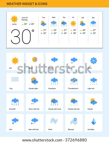 Weather widget & icons.Vector illustration.  Geometric style.