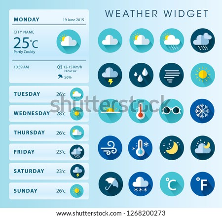Weather Widget Illustration Icon Design Set