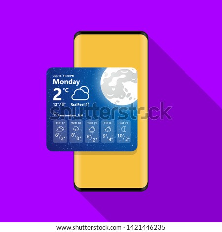 Weather Widget on Mobile Phone Illustration Vector Icon