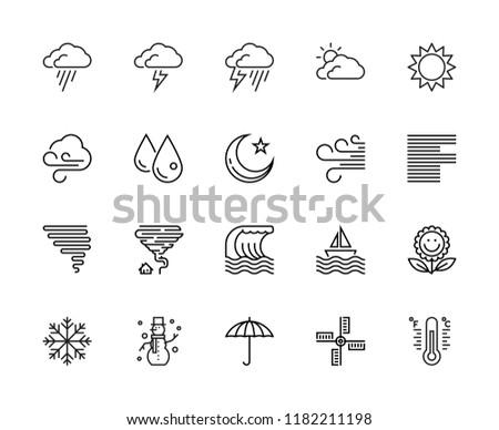 Weather, Wind, Rain, Night, Storm, Vector & Illustration