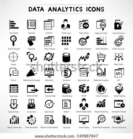 web analytic icons set, data analytic icon set