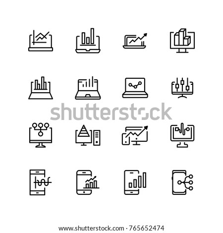Web analytics icon set. Collection of high quality black outline logo for web site design and mobile apps. Vector illustration on a white background.
