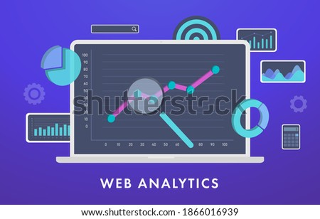 Web Analytics, Statistical Data Analysis and Metrics concept. Laptop computer with graph and charts on screen and conceptual marketing icons and analytics elements. Digital business SEO technology
